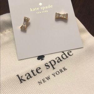 Kate Spade Gold Clear Ready Set Bow Earrings